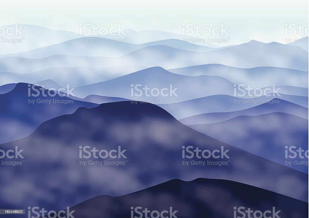 Mountains in fog royalty-free stock vector art