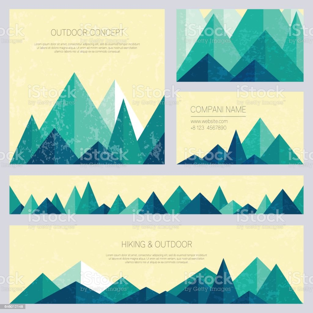 Mountains in low poly style. Set of stylish outdoor card templates. vector art illustration