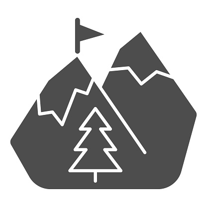 Mountains in snow solid icon, World snowboard day concept, winter mountain sign on white background, Snow Mountains with Flag icon in glyph style for mobile and web design. Vector graphics.