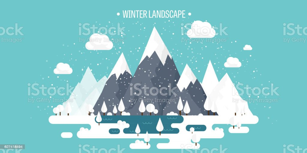 Mountains in Winter, Peak with Snow. Nature Landscape. Christmas Travel vector art illustration