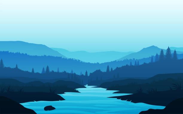 ilustrações de stock, clip art, desenhos animados e ícones de mountains lake and river landscape silhouette tree  horizon landscape wallpaper sunrise and sunset illustration vector style colorful view background - river