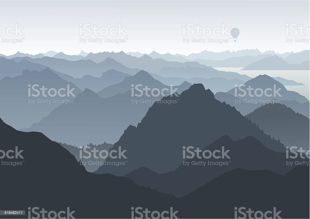 Mountains landscape, birds eye view, balloon in the background vector art illustration