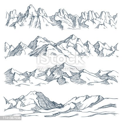 Mountains landscape engraving. Vintage hand drawn sketch of hiking or climbing on mountain. Nature highlands drawing, mountains landscape engraving. Vector isolated illustration sign set