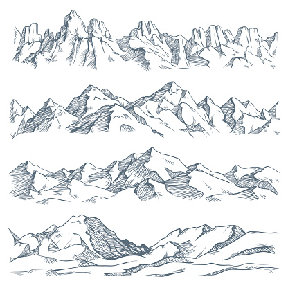 Mountains landscape engraving. Vintage hand drawn sketch of hiking or climbing on mountain. Nature highlands vector illustration clipart