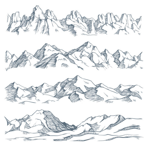 Mountains landscape engraving. Vintage hand drawn sketch of hiking or climbing on mountain. Nature highlands vector illustration Mountains landscape engraving. Vintage hand drawn sketch of hiking or climbing on mountain. Nature highlands drawing, mountains landscape engraving. Vector isolated illustration sign set mountains stock illustrations