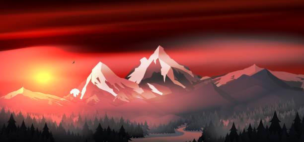 illustrazioni stock, clip art, cartoni animati e icone di tendenza di mountains landscape sunset with pine forest near a lake - fiordi