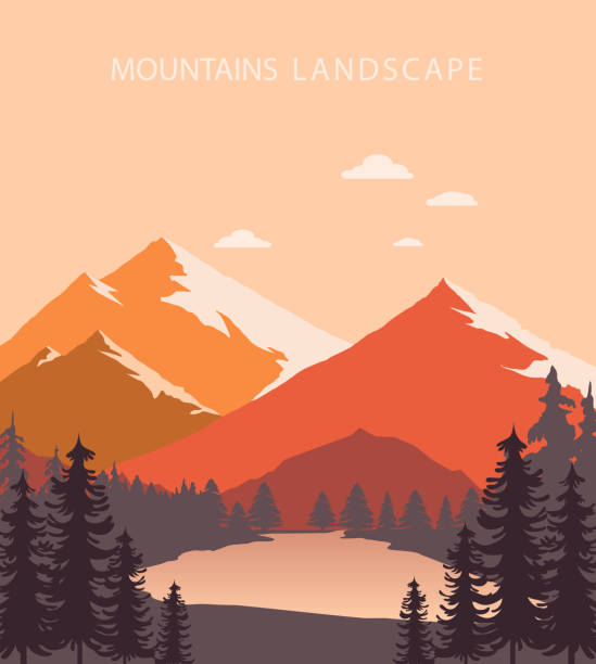 Mountains Landscape Mountains Landscape valley stock illustrations
