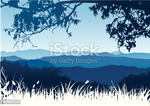 Vector illustration of the mountains in a dusk.