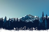 Vector illustration of the mountains.