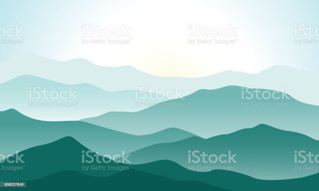 Mountains landscape with beautiful summer sunrise vector art illustration