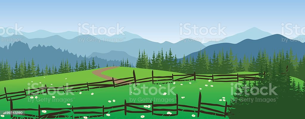 Mountains landscape with meadow and trees. vector art illustration