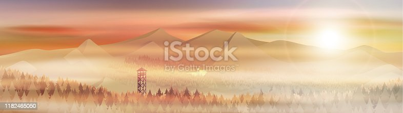 Mountains landscape with pine forest and watchtower