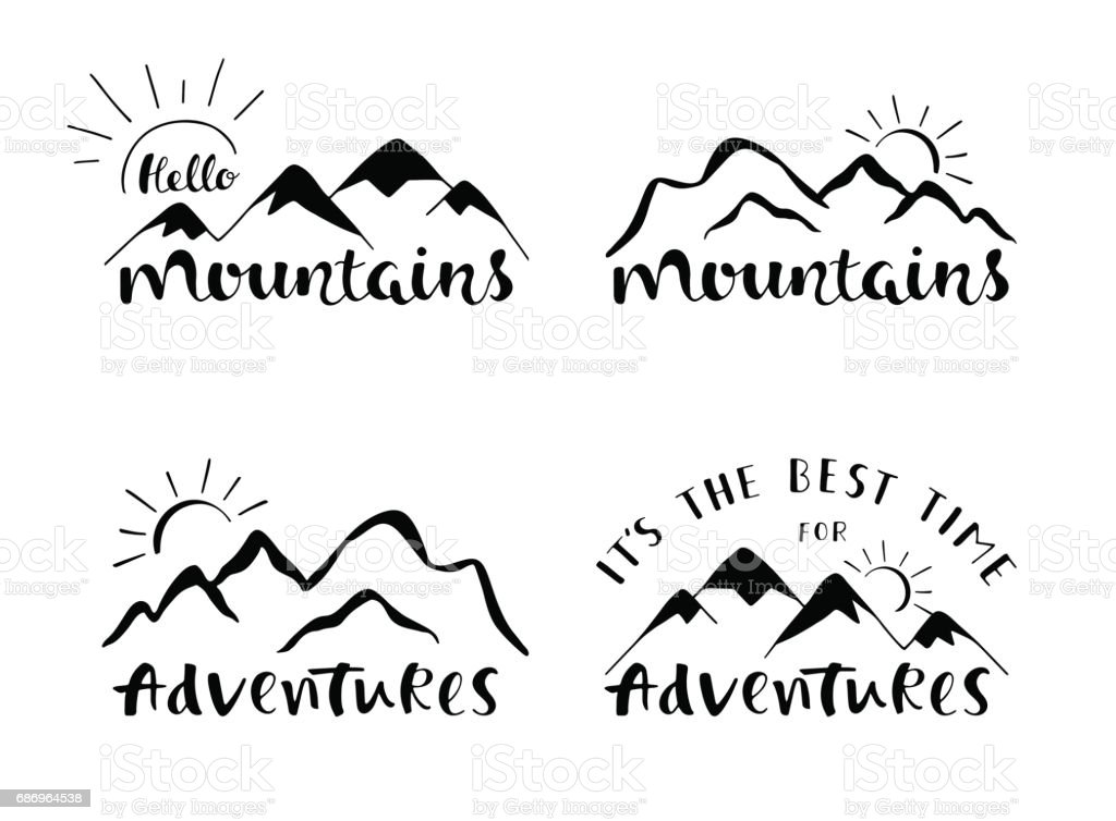 Mountains lettering design. Set of stylish outdoor illustration with hand drawn text. vector art illustration