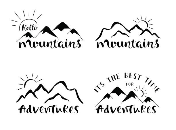 mountains lettering design. set of stylish outdoor illustration with hand drawn text. - black and white mountain stock illustrations, clip art, cartoons, & icons