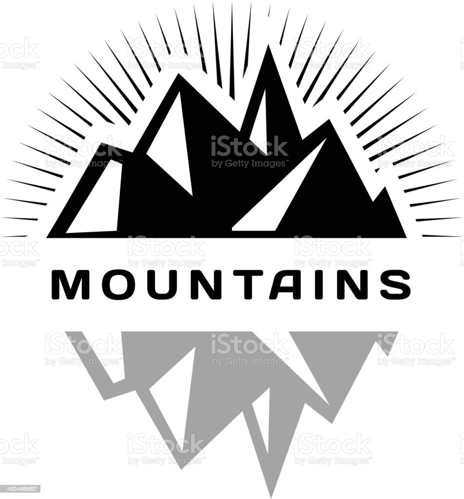 Mountains logo for a firm, company or corporation, travel agency vector art illustration