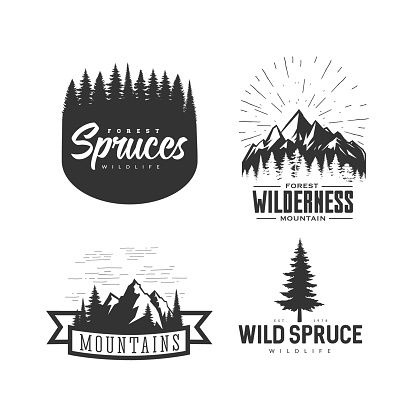 Monochrome illustrations with a mountains logos on a white background.