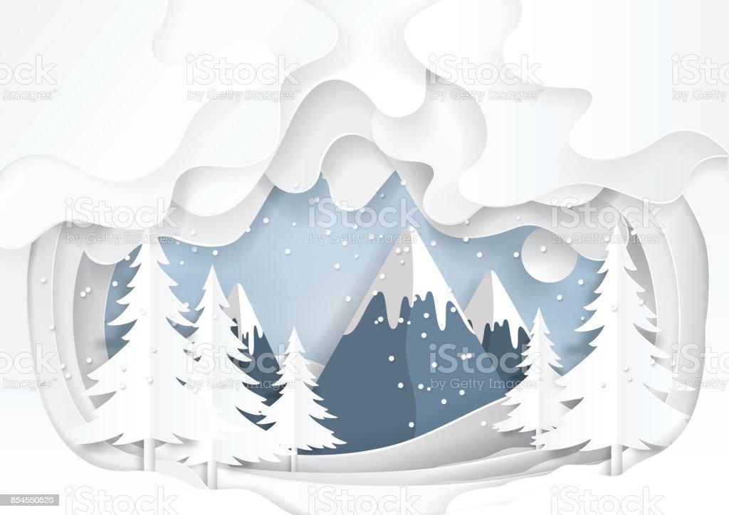 Mountains on snow winter background. vector art illustration