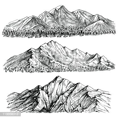 Mountains chains vector hand drawn landscape. Ridge and ranges with forest panoramic view. Isolated sketches on white background.