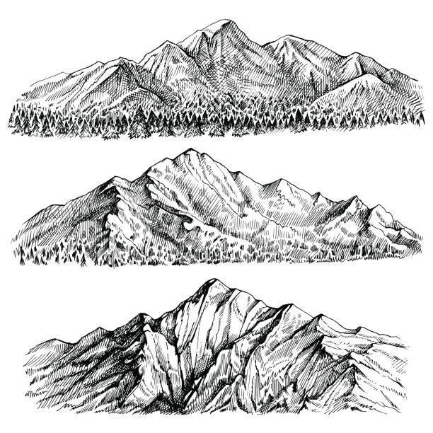 illustrazioni stock, clip art, cartoni animati e icone di tendenza di montagne picco vettore tratto a mano paesaggio. cresta e gamme con vista panoramica sulla foresta. - negozio sci