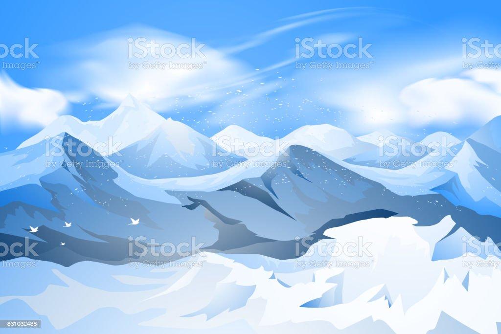 Mountains peak with snow scene vector art illustration
