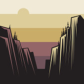 Mountains ranges ladscape, vector illustration