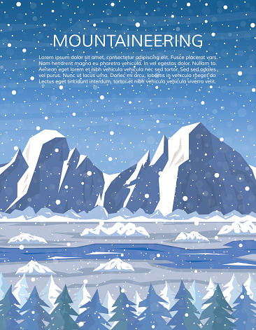 Mountains, river and pine forest. Mountaineering and travelling, winter adventure cover. Climbing, hiking, trekking, outdoor vacation or extreme winter sports banner. Vector illustration.