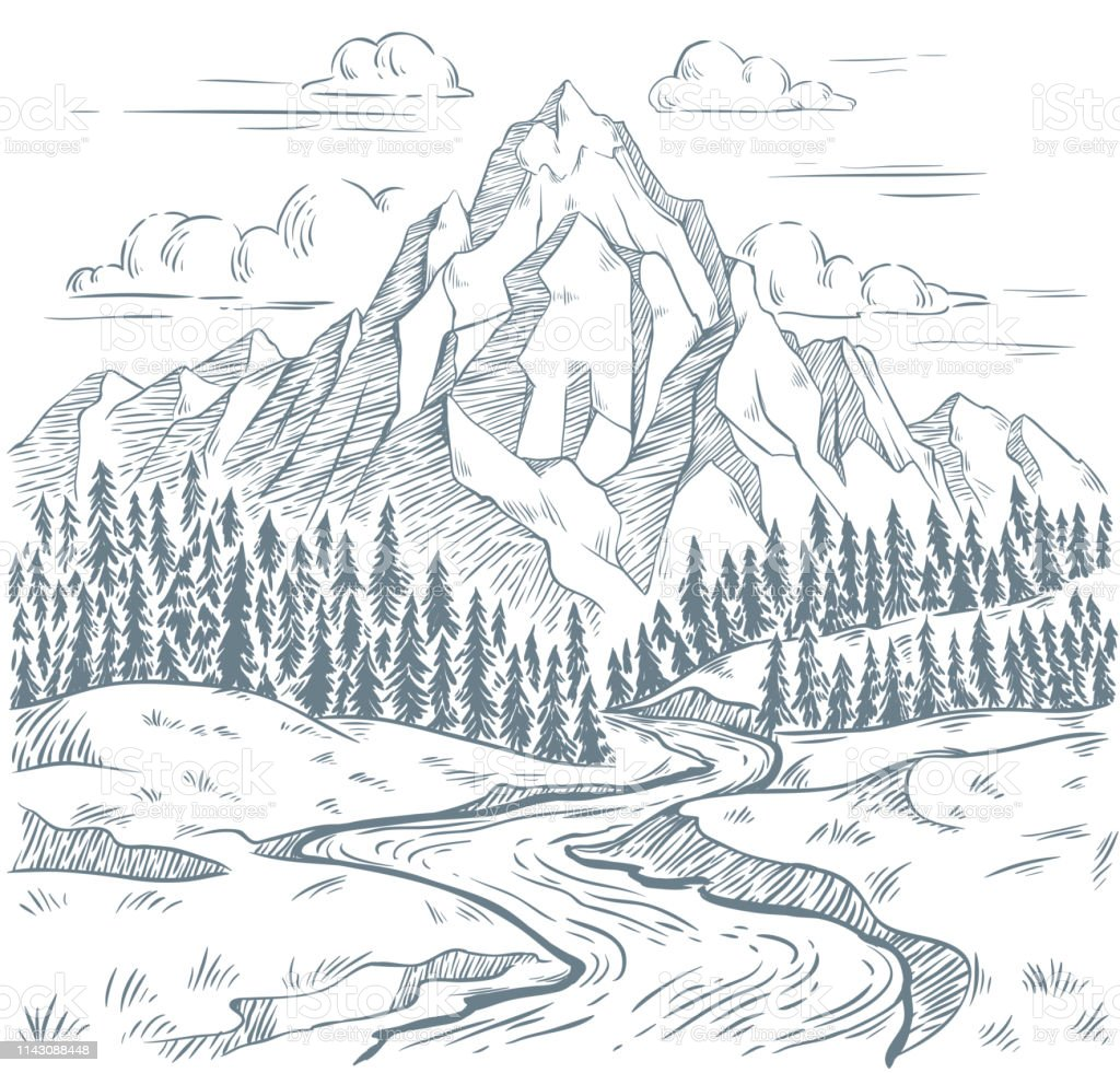 Mountains river engraving. Outdoors travel, mountain adventures and snake rivers vintage hand drawn landscape vector illustration - arte vettoriale royalty-free di Abete
