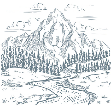 Mountains river engraving. Outdoors travel, mountain adventures and snake rivers vintage hand drawn landscape. Mountain valley sketch, tourism landscape drawing vector illustration
