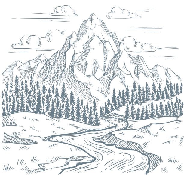Mountains river engraving. Outdoors travel, mountain adventures and snake rivers vintage hand drawn landscape vector illustration Mountains river engraving. Outdoors travel, mountain adventures and snake rivers vintage hand drawn landscape. Mountain valley sketch, tourism landscape drawing vector illustration valley stock illustrations