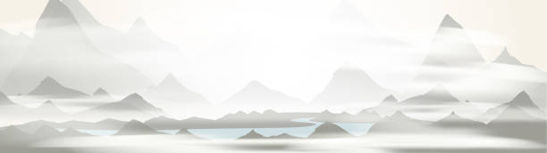 Mountains river in a morning fog Mountains river in a morning fog mountains in mist stock illustrations