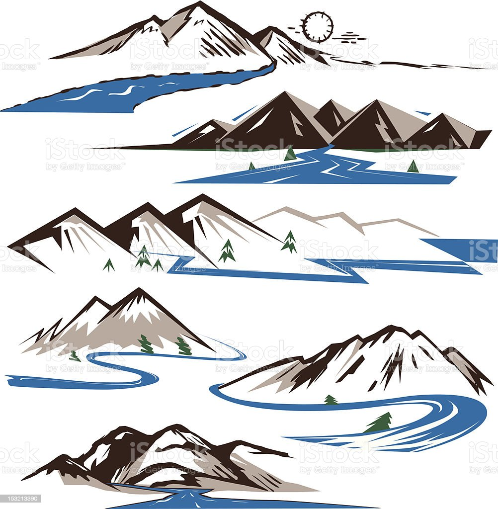 Mountains & Rivers royalty-free stock vector art