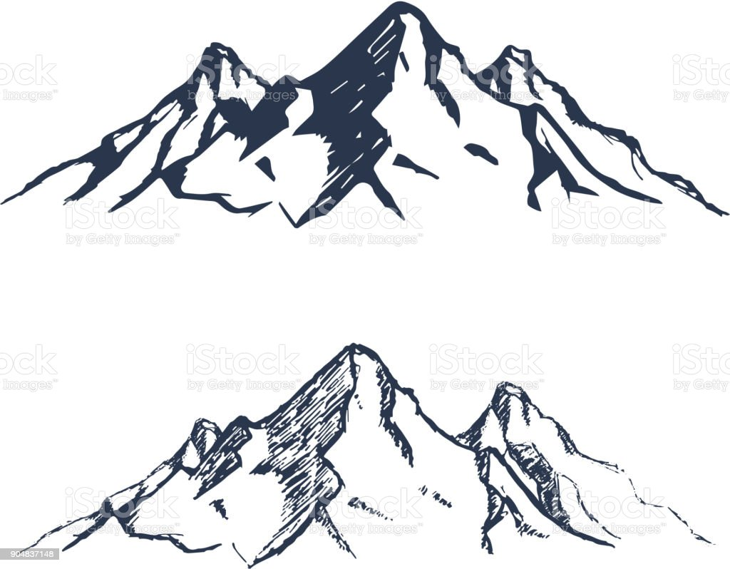 Ensemble de montagnes. Pics rocheux dessinés à la main. Vector - Illustration vectorielle
