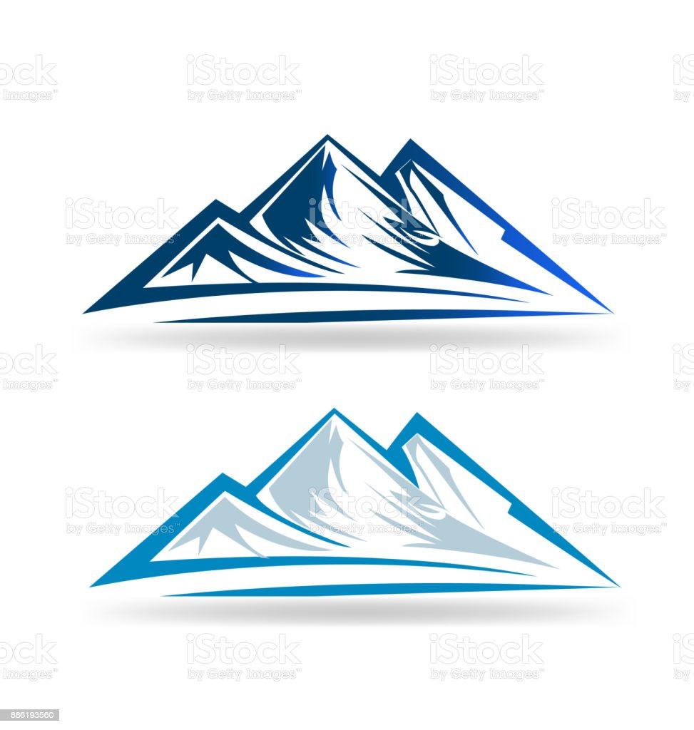 Mountains set icon vector vector art illustration