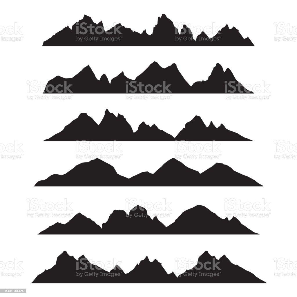 山シルエットの風景パノラマ イラスト セット アイコンの