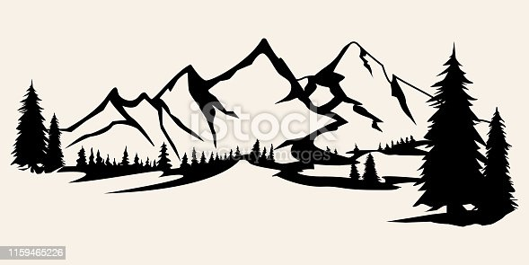 istock Mountains silhouettes. Mountains vector, Mountains vector of outdoor design elements, Mountain scenery, trees, pine vector, Mountain scenery illustration. 1159465226
