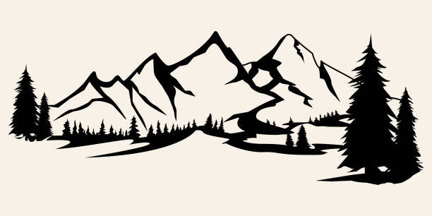 Mountains silhouettes. Mountains vector, Mountains vector of outdoor design elements, Mountain scenery, trees, pine vector, Mountain scenery illustration. Mountains silhouettes. Mountains vector, Mountains vector of outdoor design elements, Mountain scenery, trees, pine vector, Mountain scenery. mountains stock illustrations