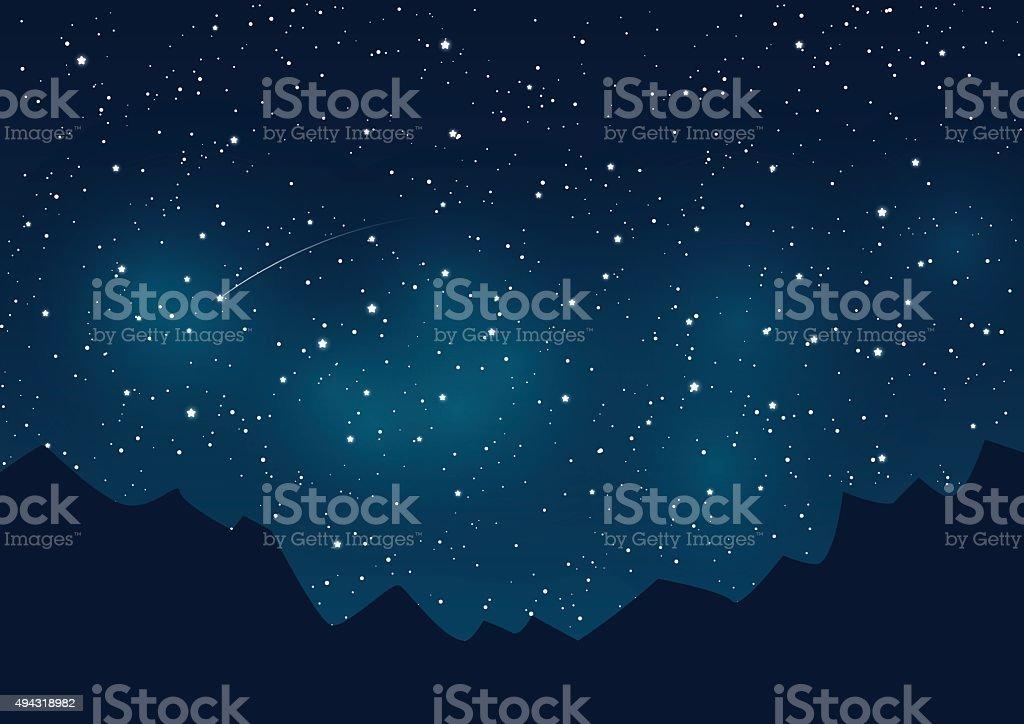 山脈のシルエットに星空の背景 ベクターアートイラスト