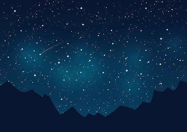 stockillustraties, clipart, cartoons en iconen met mountains silhouettes on starry sky background - twilight