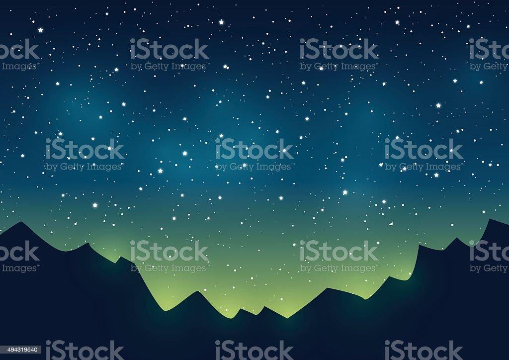 Silhuetas de montanhas de fundo do céu estrelado - ilustração de arte em vetor