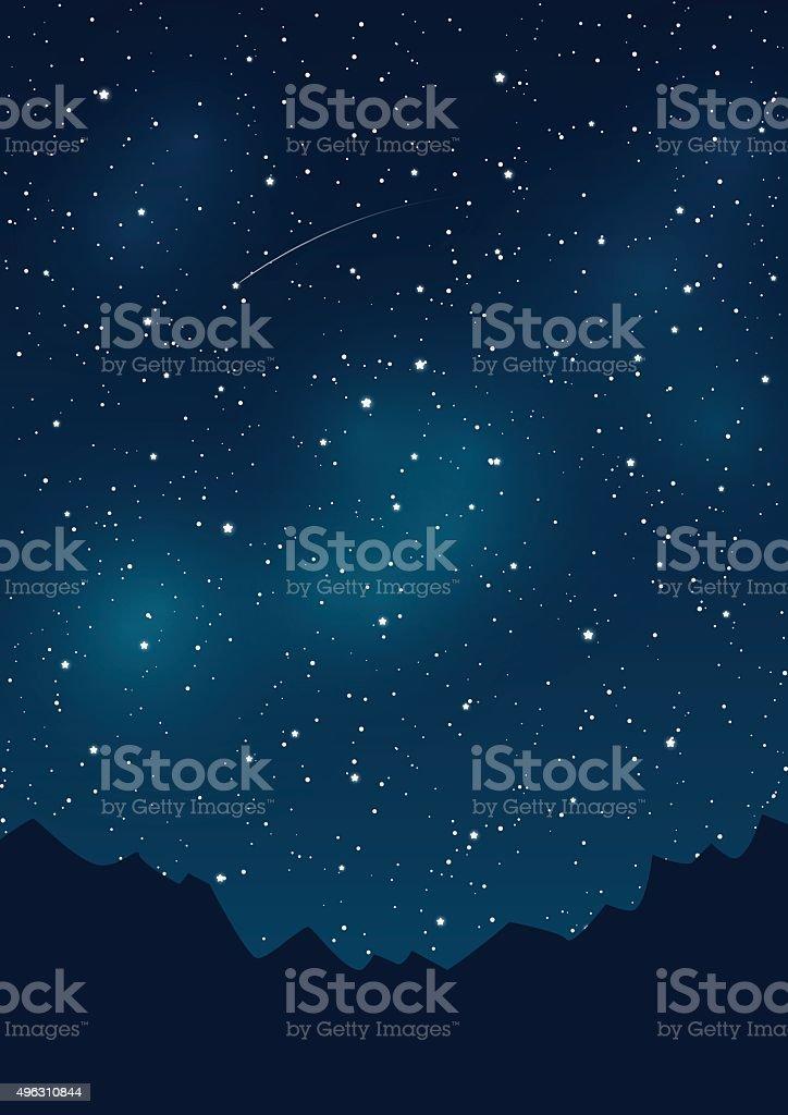 Montagne Modelli Su Sfondo Di Cielo Stellato Immagini Vettoriali