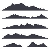 Mountains silhouettes on the white background