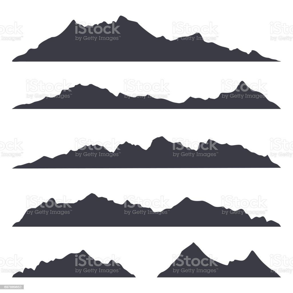 Mountains silhouettes on the white background vector art illustration