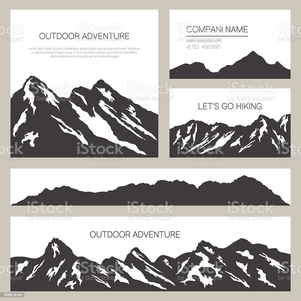 Mountains silhouettes on white background. Outdoor cards design. vector art illustration