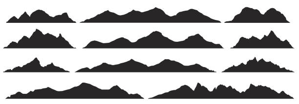 Mountains silhouettes. Vector. Mountains silhouettes on the white background. Wide semi-detailed panoramic silhouettes of highlands, mountains and rocky landscapes. Isolated Row of Mountains in Vector Illustration. hill stock illustrations