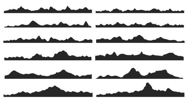 stockillustraties, clipart, cartoons en iconen met bergen silhouetten. vector. - breed