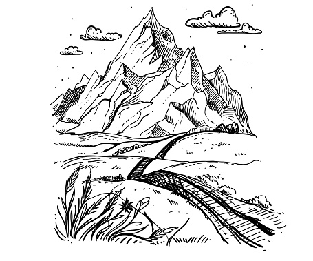 Mountains sketch. Hand drawn vector illustration. Mountain travel, highlands range. Dot and line art. Rocky peaks. Landscape silhouette.