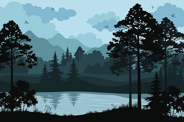 Mountains, Trees and River Evening Forest Landscape, Silhouettes Pines and Fir Trees, Bushes, Grass on the Mountain River Bank and Cloudy Sky with Birds. Vector woodland stock illustrations