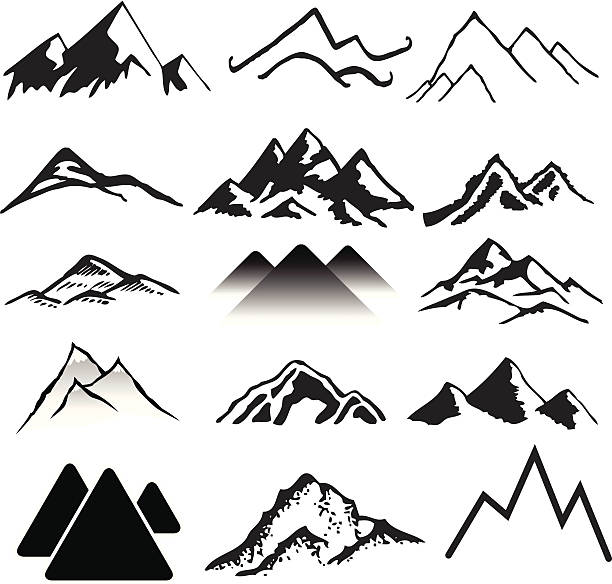 mountains - black and white mountain stock illustrations, clip art, cartoons, & icons