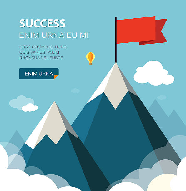 Mountains Landscape with flag on the mountain. Success concept illustration. Overcoming difficulties. mountain top stock illustrations