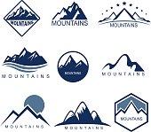 Design set of 9 mountains